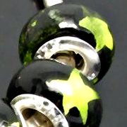 5 Lampwork murano glass Beads 14x10mm Black STAR