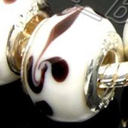 5 Lampwork murano glass Beads 14x10mm Black White
