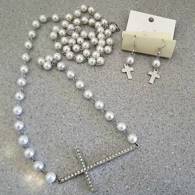 Chained Pearls and Rhinestone Cross Necklace & Earrings