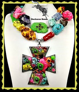 Cross of Many Colors Cowgirl Necklace