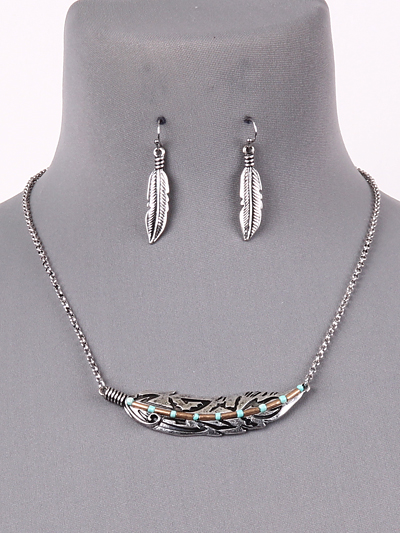 2-tone Feather with Turquoise accents Necklace set