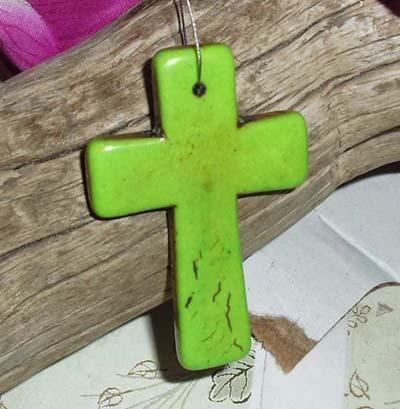 Lime Green Howlite Cross