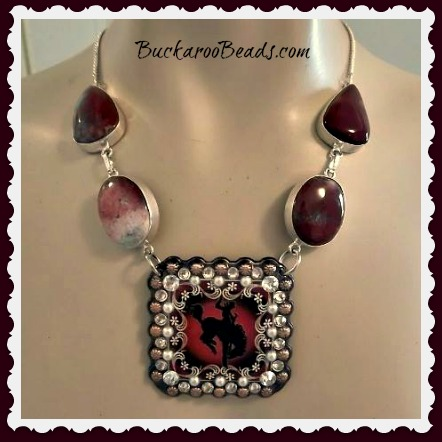 Maroon Jasper and Pearls Bronc Concho Necklace