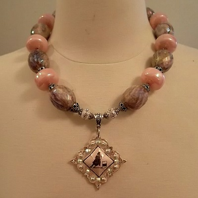 Pink and Brown Rhinestone Embellished Barrel Racer Concho Necklace