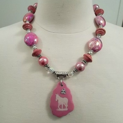 God Created Mules Pink Necklace