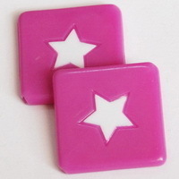 6 Pink Flat Star Beads 25mm