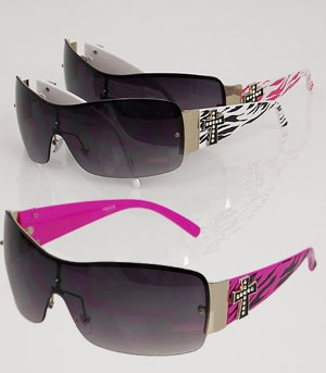 Zebra Print Rhinestone Cross Sunglasses