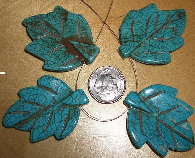 Turquoise howlite leaf 30 x 40mm