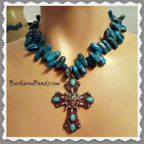 Turquoise Needles Necklace with Cross Pendant