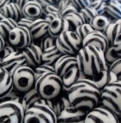 12mm Ball Zebra Acrylic Beads