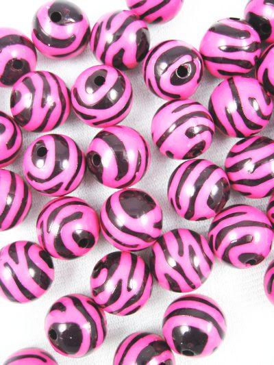 16mm Ball Black and Fuschia  Zebra Acrylic Beads