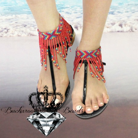 CORAL MULTI SEED BEAD FRINGE ANKLETS