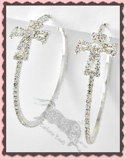 Clear Rhinestone Cross Hoop Earrings 2 3/8 inch