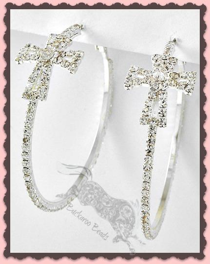Clear Rhinestone Cross Hoop Earrings 2 3/8 inch