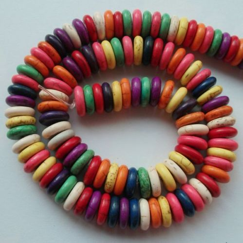 10x3mm Mixed Rondelle(Howlite)Turquoise Gemstone Beads 65pcs