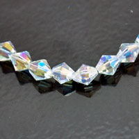 6mm Faceted Bicone Fire-n-Ice Crystal Clear AB
