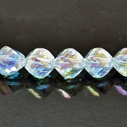 8mm Faceted Helix Fire n Ice Crystal Clear AB