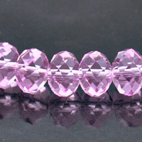 8x10mm Rondelle Faceted Fire-n-Ice Crystal Rose Pink
