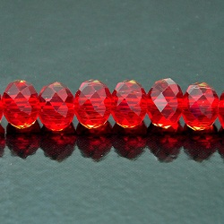 8x10mm Rondelle Faceted Fire n Ice Crysta  Siam Red