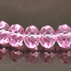 9x12mm Rondelle Faceted Fire n Ice Crystal Rose Pink