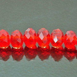 9x12mm Rondelle Faceted Fire n Ice Crystal Siam Red
