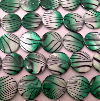 Green Fading to White Zebra Beads 20mm