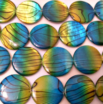 Yellow and Blue Zebra Shell Beads 20mm