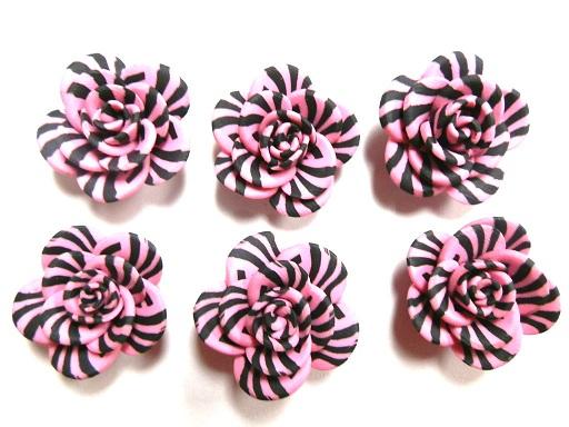 Fimo Polymer Clay Zebra Stripe Pink Animal Print Flower Rose Beads 25mm