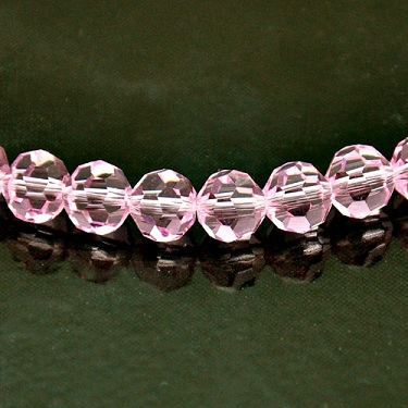 8mm Round Faceted Fire-n-Ice Crystal�, Rose(Pink), strand