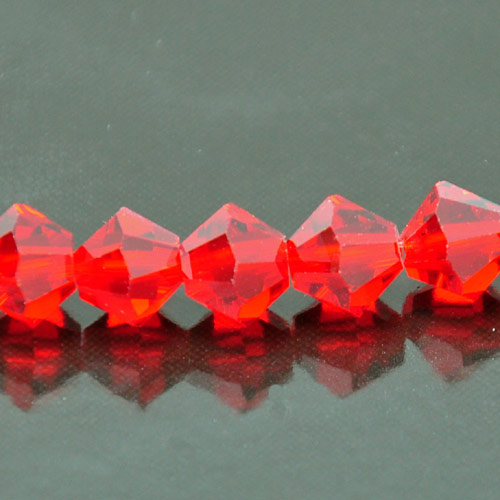 8mm Faceted Bi-cone Fire-n-Ice Crystal�, Siam(Red), strand