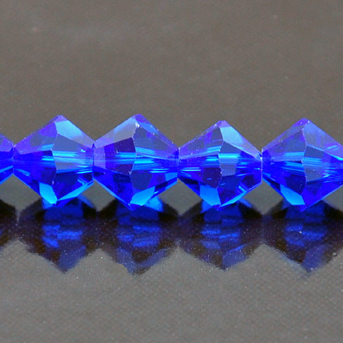 8mm Faceted Bi-cone Fire-n-Ice Crystal�, Sapphire(Blue), strand