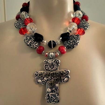 Red and black cheetah bronc cross necklace - CUSTOM ORDER