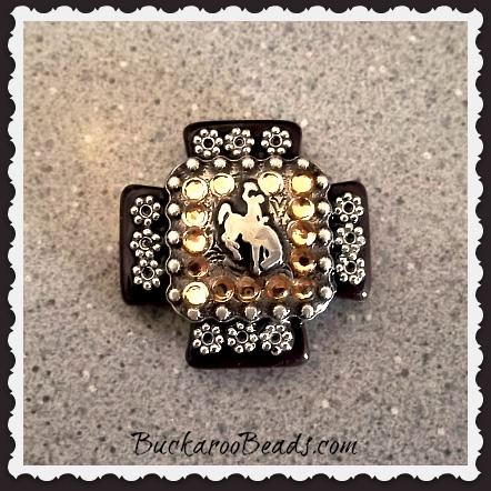 Handmade Dark Brown Howlite Cross Concho and Rhinestone Embellished