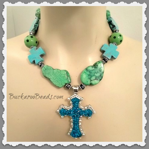 Cowgirl Heavenly Skies and Green Grass Necklace