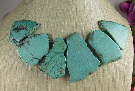 Predrilled turquoise howlite slabs  20- 50mm