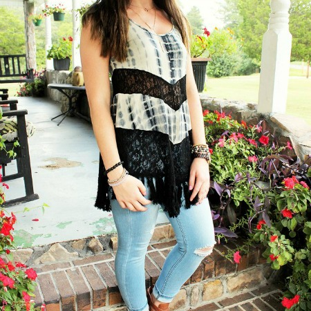 GYPSY DREAMS Lace and Tie Dyed TOP