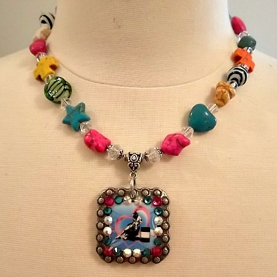 Little Girl's Cowgirl Nugget Necklace with Concho Pendant