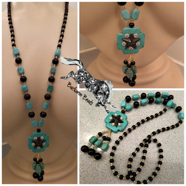 Patina Lone Star Turquoise Cross Long Necklace