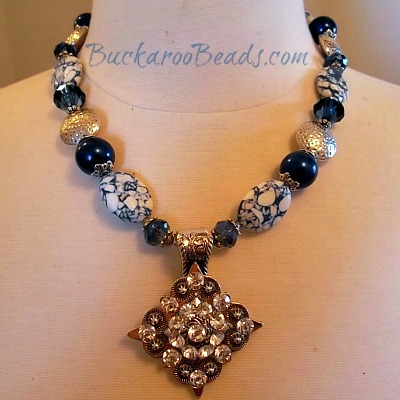 Mosaic Blue and Rhinestone Concho Necklace