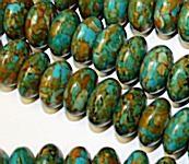 Mosaic Turquoise Rondelles 14mm