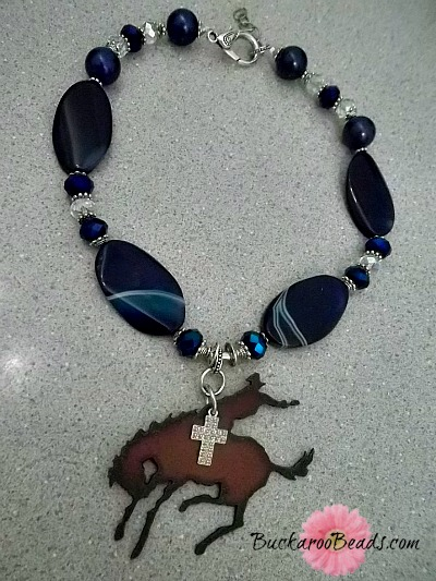 Navy Blue Bronc Cowgirl Necklace