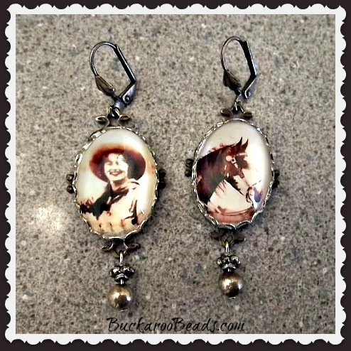 Old West Cowgirl & Horse Earrings