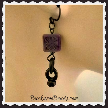 Handmade Purple Czech Bead Earrings
