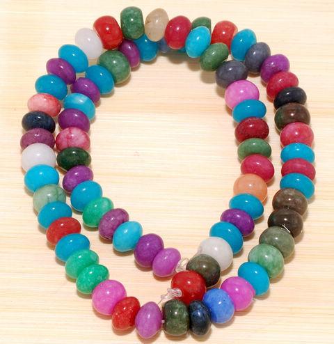 Multi Color Jade Gemstone Rondelle Loose Beads