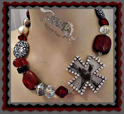 Red Cheetah Bronc in Cross Necklace