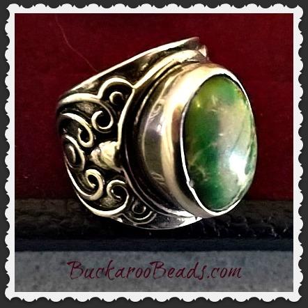 Green Sea Sediment Gemstone Ring - Size 9
