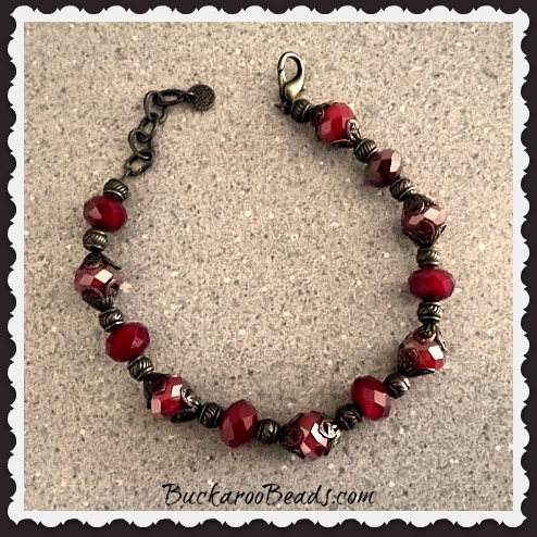 Ruby Red and Antique Brass Bracelet