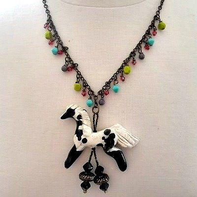 Spotted Pinto Pony Necklace