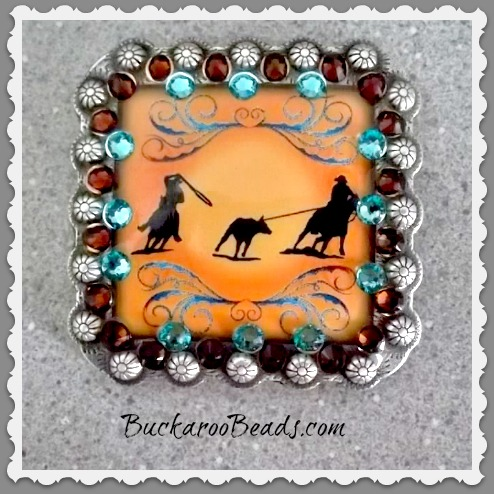 Team Ropers Rhinestone embellished Concho