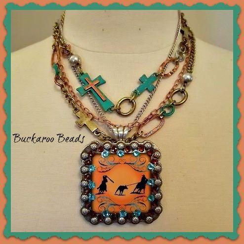 Hand embellished team roper concho necklace (RESERVED FOR KARLA)